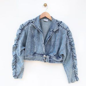 Vintage Joni Blair Ruched Sleeve Crop Denim Jacket